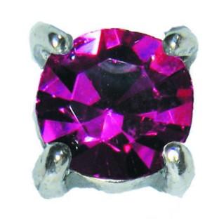 Charmins oorstekers zilver E25 princess diamond violet