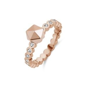Melano Twisted ring wave CZ rose gold