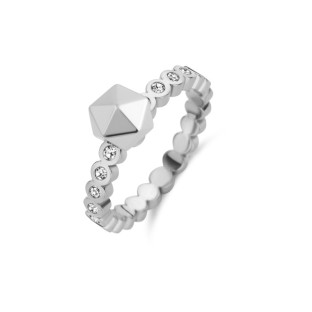 Melano Twisted ring wave CZ stainless steel