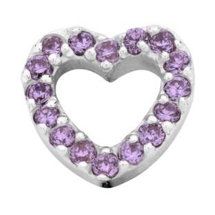 Enchanted bracelet elements heart zirkonia 9 mm purple