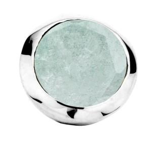 Enchanted bracelet element round aqua marine facet silver