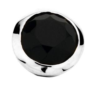 Enchanted bracelet element round black agate facet silver