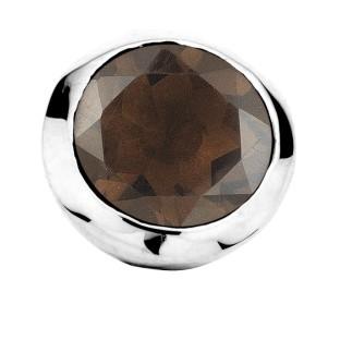 Enchanted bracelet element round smoky quartz facet silver
