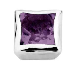 Enchanted bracelet element square amethyst facet silver rhodium