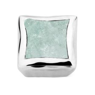 Enchanted bracelet element square aqua marine facet silver rhodium