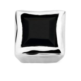 Enchanted bracelet element natural stone square black agate facet silver rhodiu