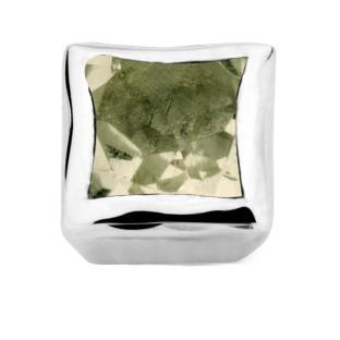 Enchanted bracelet element square green amethyst facet silver