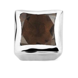 Enchanted bracelet element square smoky quartz facet silver