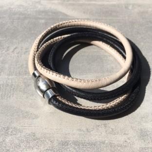 Qudo Twin armband donker bruin/creme