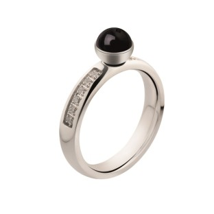 Melano Twisted ring CZ stainless steel