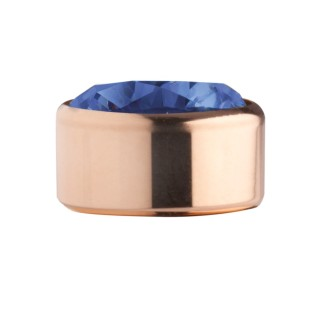 Melano Stainless Steel zetting rose rond zirkonia blue