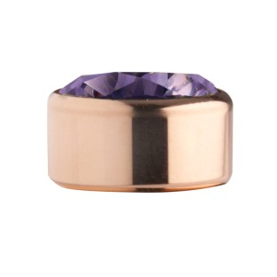 Melano Stainless Steel zetting rose rond zirkonia purple