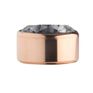 Melano Stainless Steel zetting rose rond zirkonia transparant black