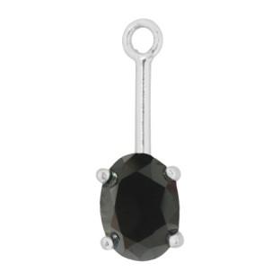 Charmins oorhangers silver black oval PE15