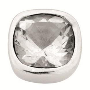 Enchanted square natural stones white topaz facet