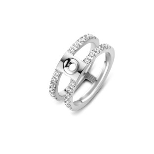 Melano Twisted ring Trista CZ stainless steel