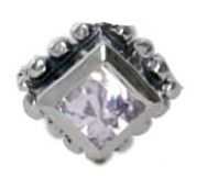 Charmins oorstekers zilver E15 diamond ace white