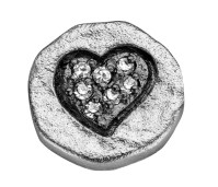 Enchanted elements round zirkonia 10 mm heart black plated