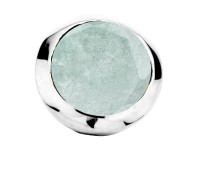 Enchanted bracelet element round aqua marine facet silver