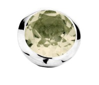Enchanted bracelet element round green amethyst facet silver