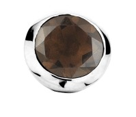 Enchanted bracelet element round smoky quartz facet silver