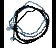 Biba armbanden set 6 black silver