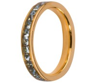 Melano Stainless Steel ring gold aqua