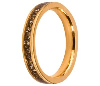 Melano Stainless Steel aanschuifring gold black diamond