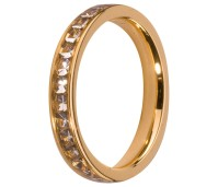 Melano Stainless Steel aanschuifring gold crystal