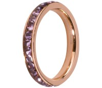 Melano Stainless Steel aanschuifring rose gold violet